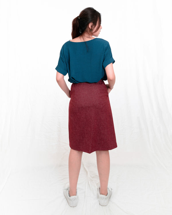 Kai Button-front Kneelength Skirt