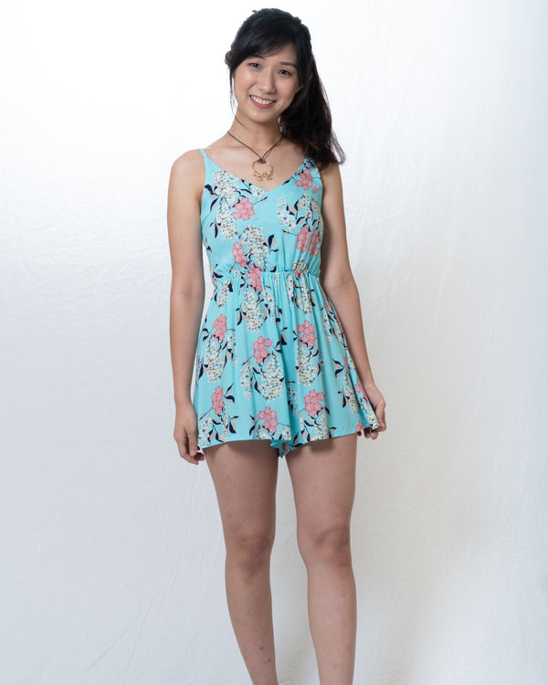 Chalize Spagetti Light-Blue Floral Romper