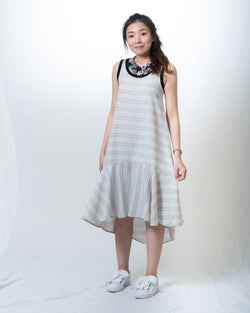 Terrie Mermaid-Hem Dress in Stripes