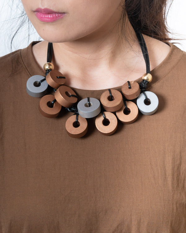 Statement Wooden-Disc Choker