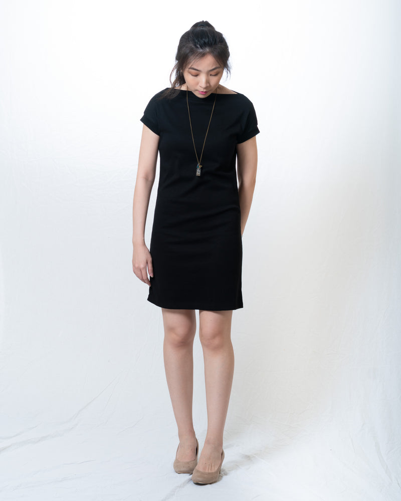 Kellie-Knit Sabrina-Neck Fitted Dress