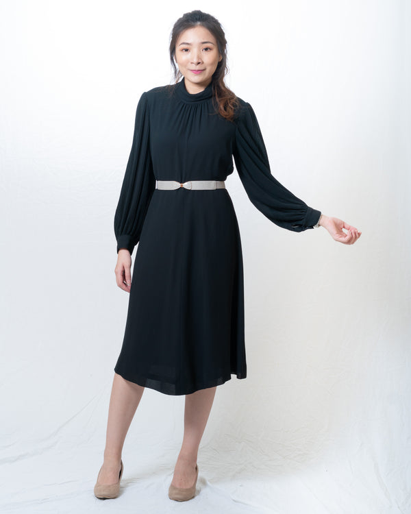 Full-Black Puff-Sleeves Classic Vintage Dresss