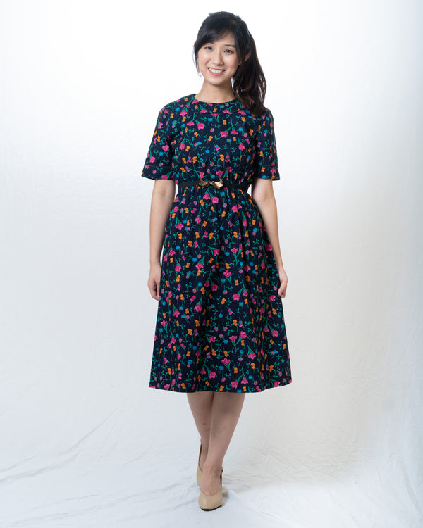 Navy Blue Colourful-Floral Vintage Dress