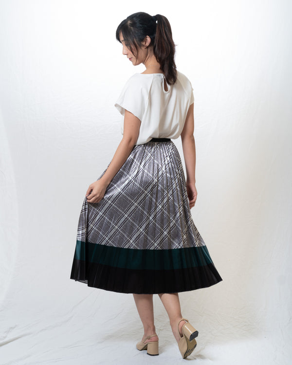 Oxford Houndstooth Pleated Skirt