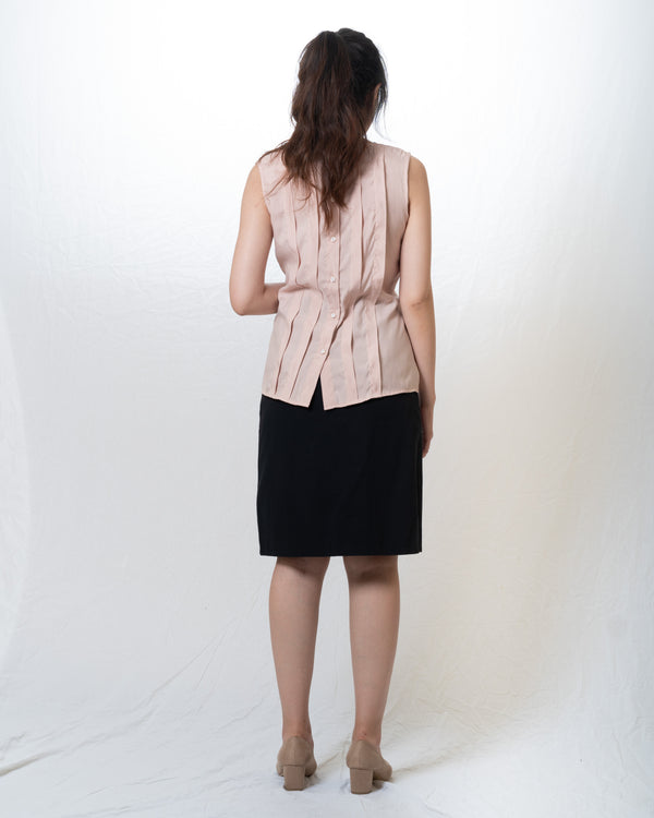 Ai-Cotton Sleeveless Pleated Top