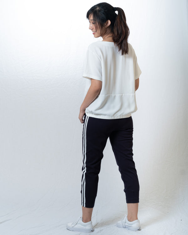 Jazlyn Front-Pockets Tapered Sports-Trimmed Pants