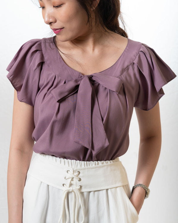 Ai-Cotton Tie-Ribbon Top