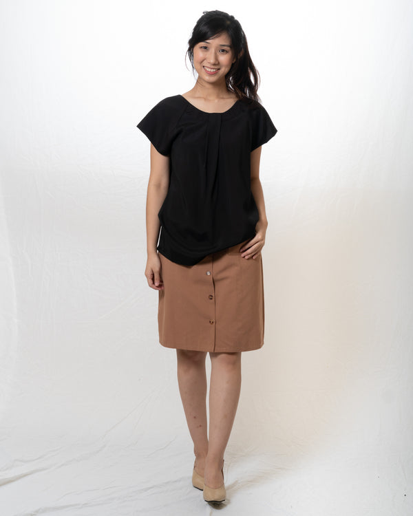 Ai-Cotton Simple Wide-Neck Top