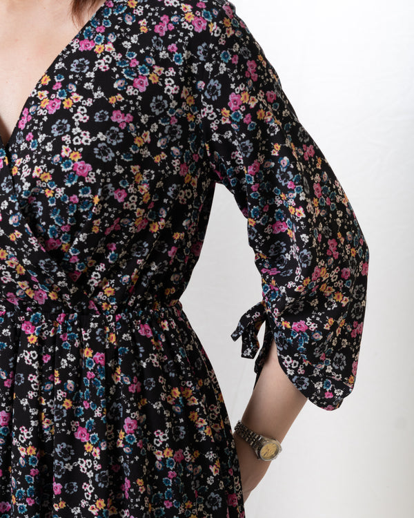Drawstring-Sleeves Black Floral Vintage Dress