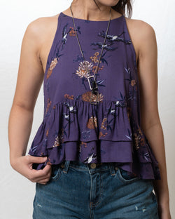 Stacie Purple Cranes Cropped Top