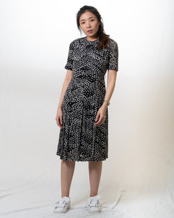Black Vintage Dress with White Repeated Patterns