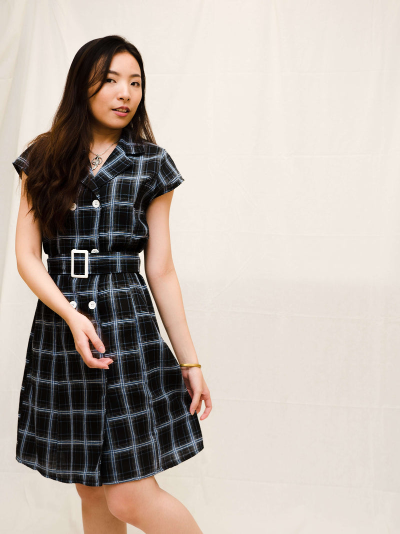 Dayna Lightweight A-line Black Plaid Dress