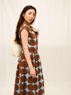 Eleanor Light Blue with Rust Spots - Maxi Dress