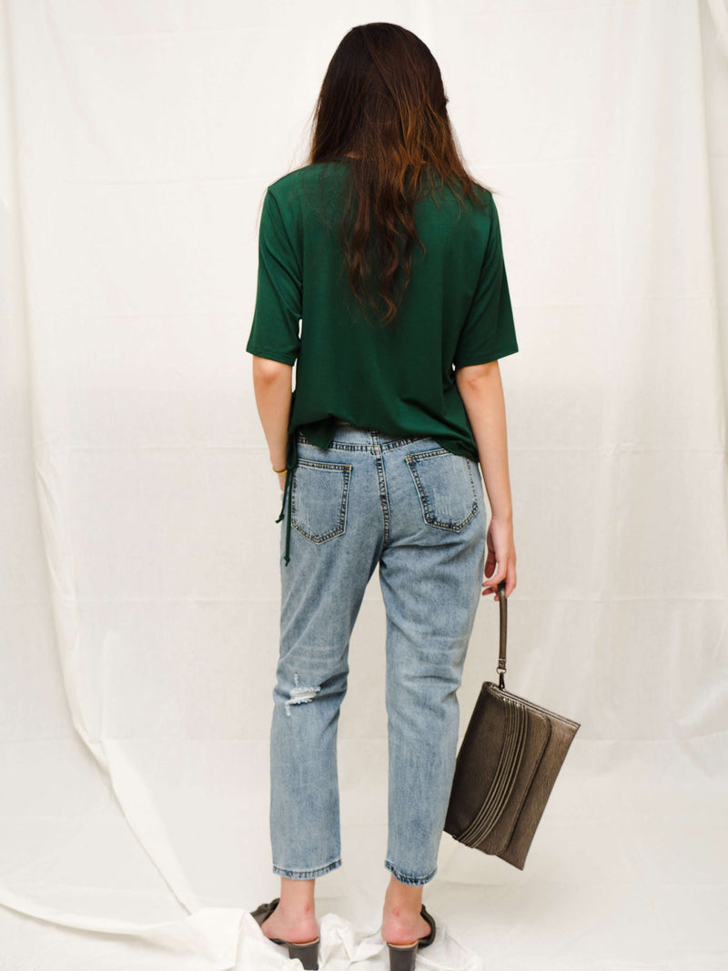 Raena Torn Jeans with Unique Waist Details