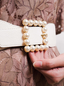 White Belt with Pearl-Embellished Buckle