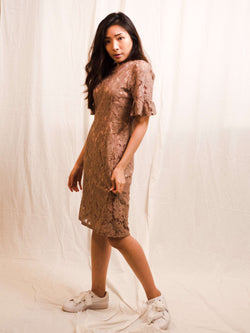 Priti-Lace Flair-Sleeves Dress