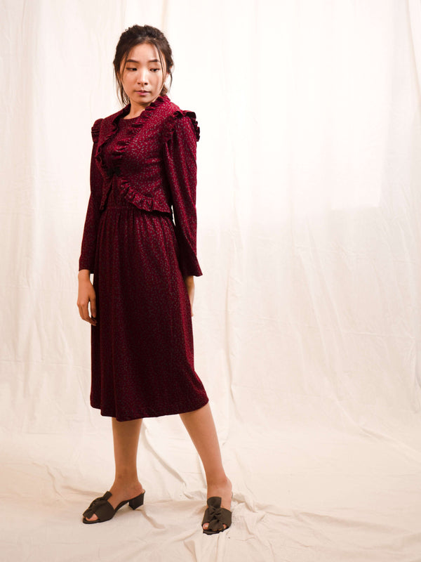 Maroon Wool Vintage Dress