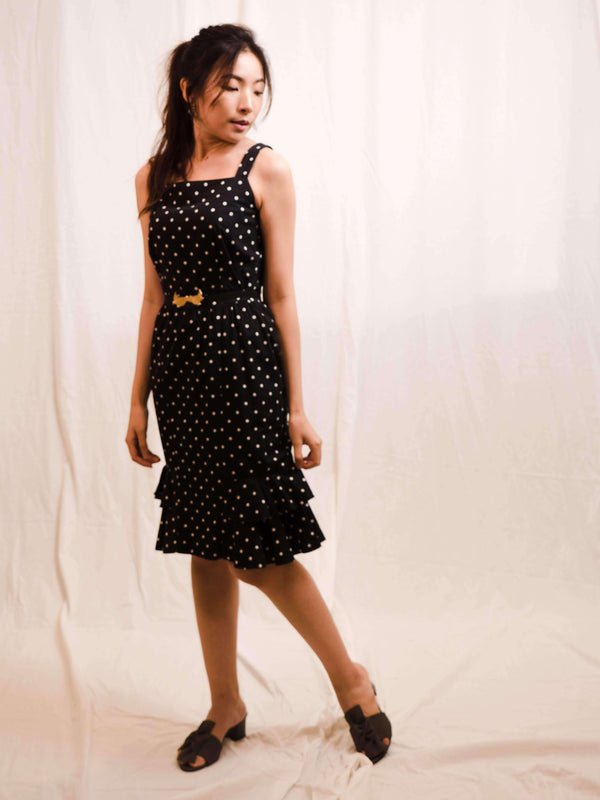 Black Polka-Dot Vintage Dress with Petalled Hem