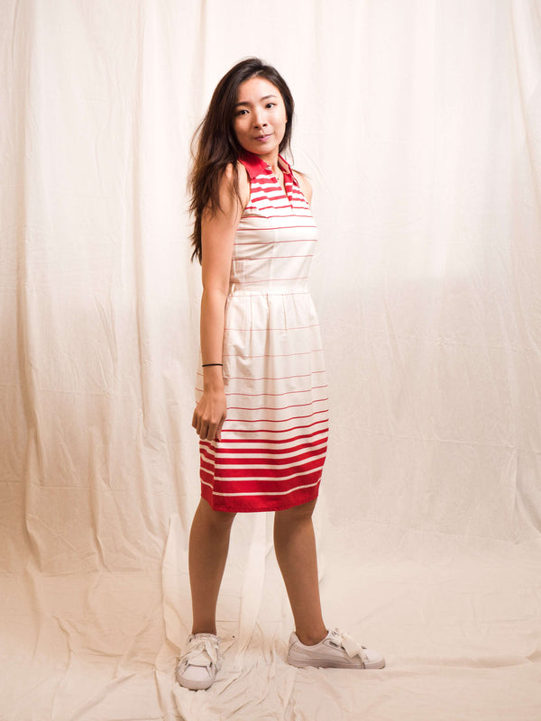 Red and White Striped Halter Vintage Dress