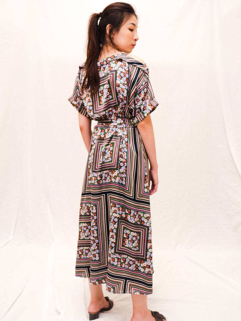 Steffie Floral Grid Maxi Dress