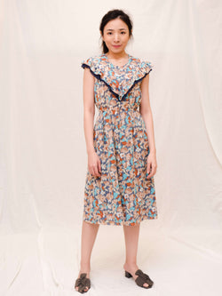 Blue Floral Sleeveless Vintage Dress