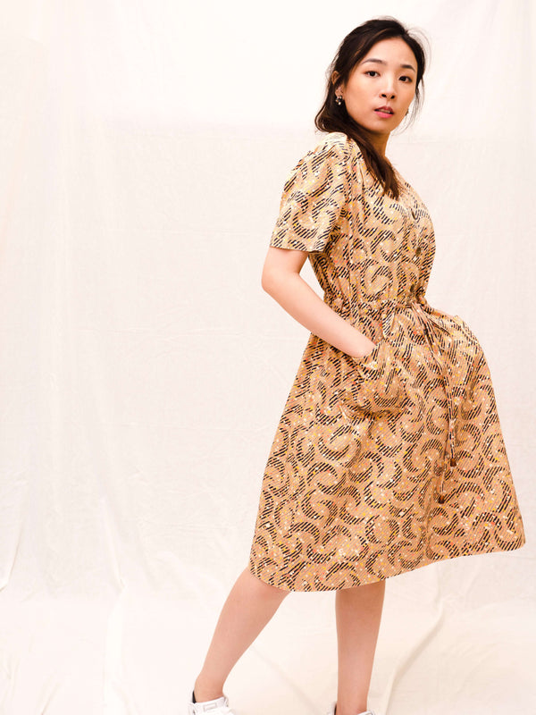 Dots-and-Crescents Drawstring Vintage Dress