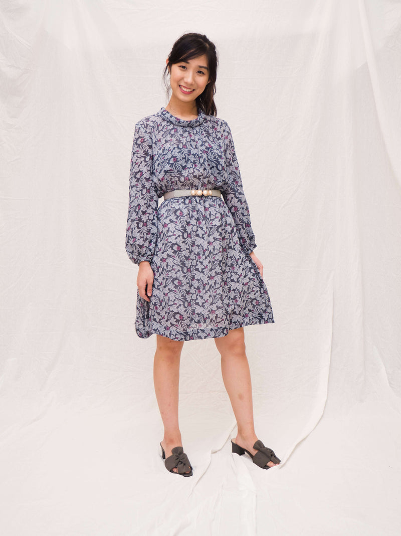 Long-sleeves Floral Vintage Dress