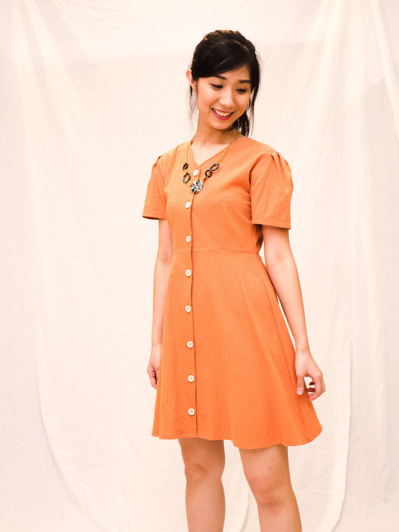 Marlina V-neck Button-front Dress