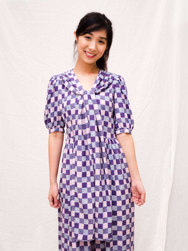 Purple-Grid Puff-Sleeves Vintage Dress