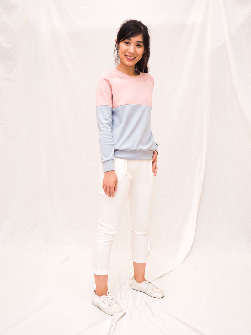 Kellie-Knit Two-Tone Pullover Top