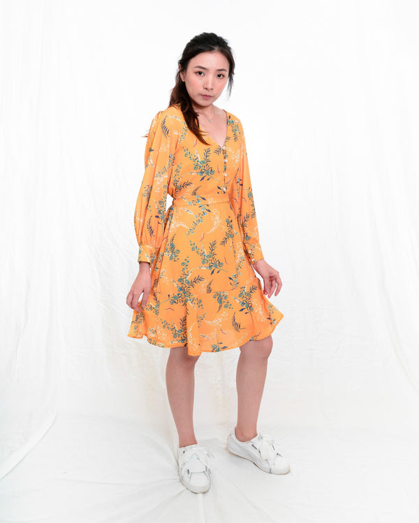 Steffie Orange Floral Dress
