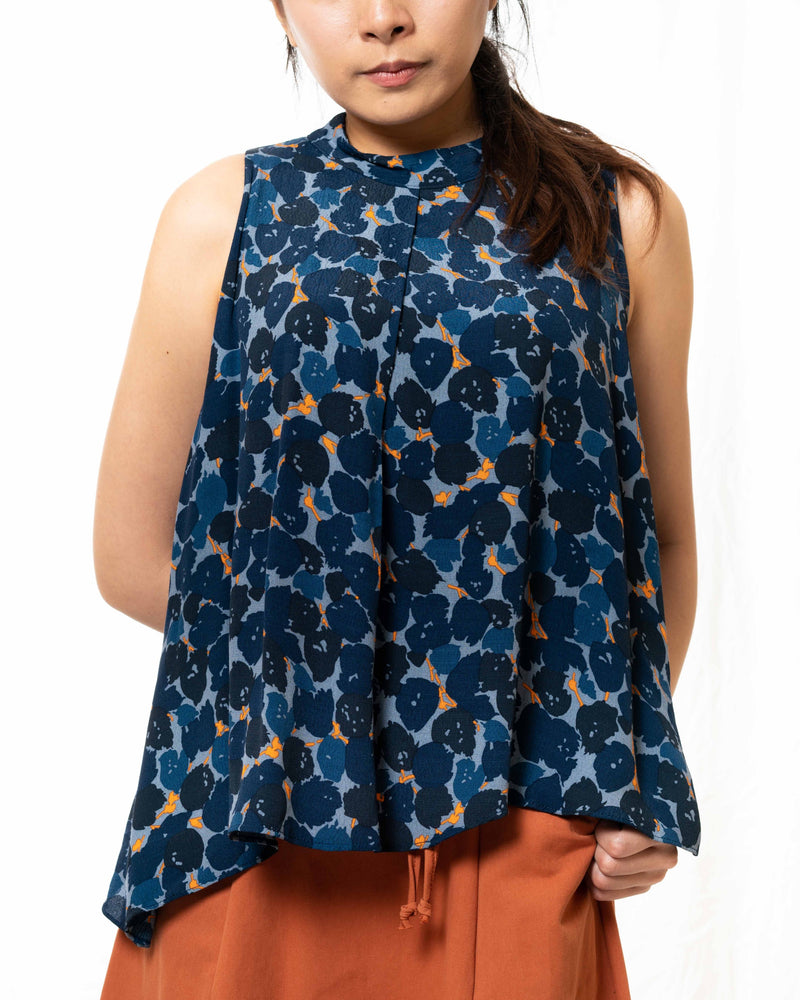 Stacie Blue Printed Top