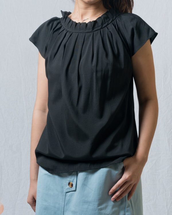 Ai-Cotton Wide Pleated-Neckline Top