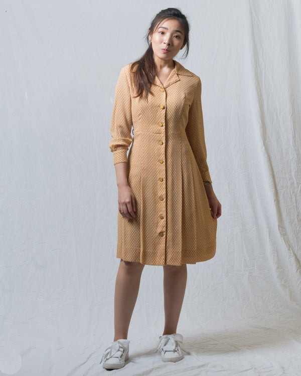 Caramel Dotted Vintage Dress