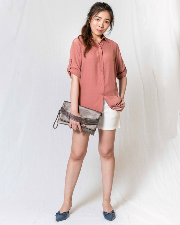Silky-Smooth Rolled-Up Sleeves Blouse