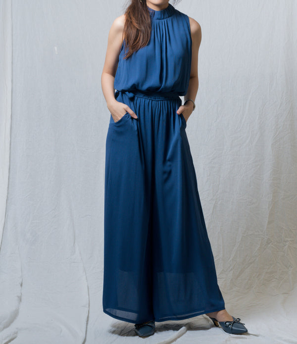 Clarine Long-Legs Sleeveless Jumpsuit