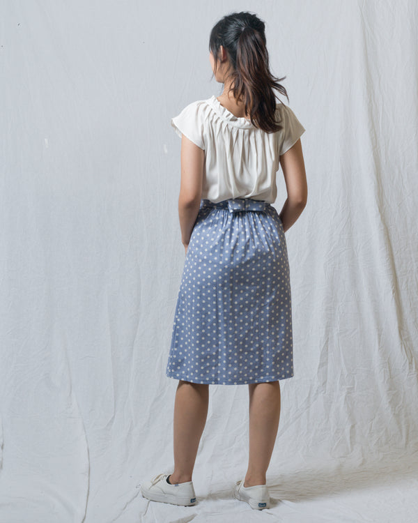 Yam Dotted Skirt with Irregular Hem