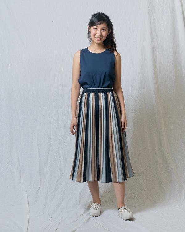 Heather Pleated Striped Culottes