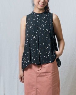 Stacie Black Dotted Sleeveless Top