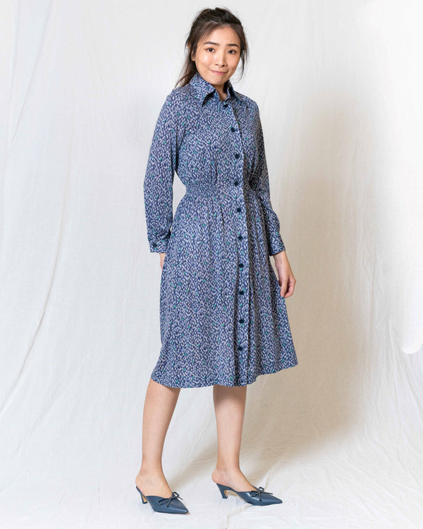 Blue Printed Long-Sleeves Vintage Dress