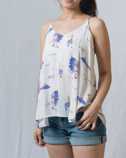 Stacie White Spagetti Criss-Cross Printed Top