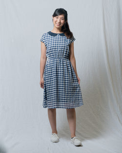 Blue Gingham-Print Vintage Dress