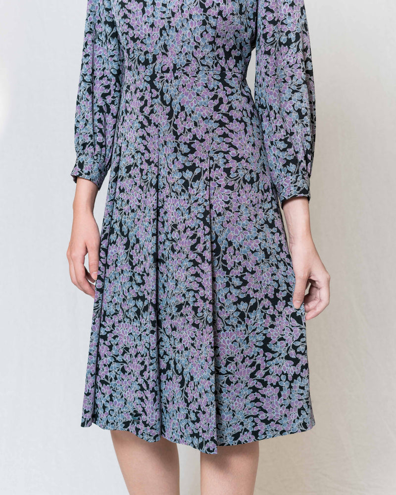 Draped Neck Floral Vintage Dress