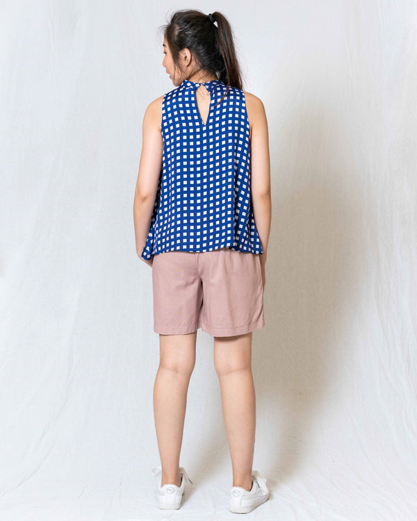 Stacie Blue Checked Sleeveless Top