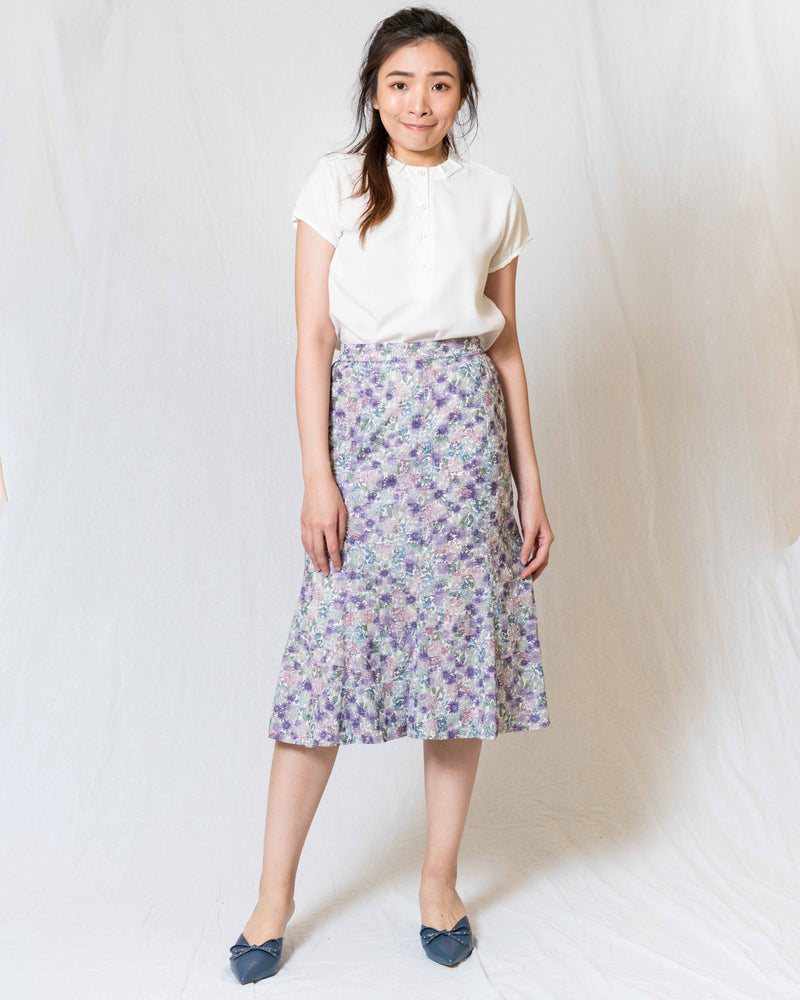 White Textured Floral Vintage Skirt