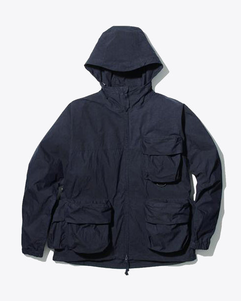Indigo Cotton Nylon Parka