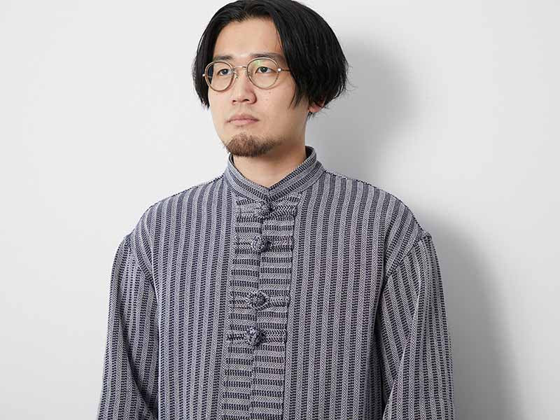 Cotton Herringbone Stripe CN Jacket