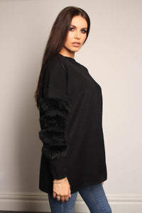 Oversized Jumper With Faux Fur Sleeves- ONE SIZE- Black - Martinali Fashion