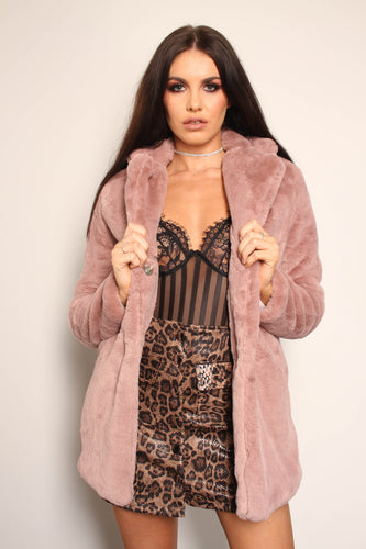 Longline Faux Fur Coat with collar - Dusky Pink - Martinali Fashion