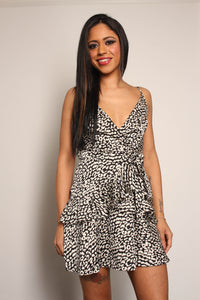 Wrap Front Frill Hem Leopard Dress - Martinali Fashion
